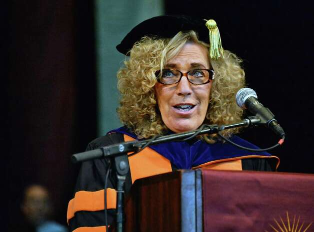 Elaine Fuchs, PhD, delivers the Commencement address to graduates of Albany Medical College at SPAC Thursday May 21, 2015 in Saratoga Springs, NY.  (John Carl D'Annibale / Times Union) Photo: John Carl D'Annibale / 00031498A