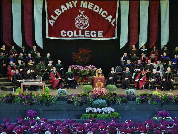 Elaine Fuchs, PhD, center, delivers the Commencement address to graduates of Albany Medical College at SPAC Thursday May 21, 2015 in Saratoga Springs, NY.  (John Carl D'Annibale / Times Union) Photo: John Carl D'Annibale / 00031498A