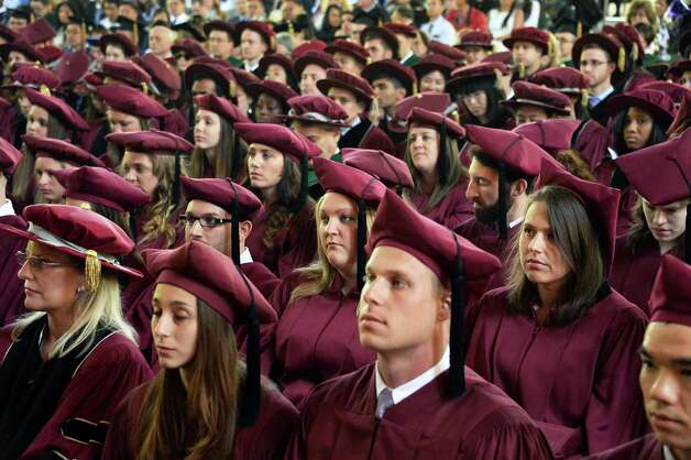 Graduates of Albany Medical College listen to speakers during Commencement Thursday May 21, 2015 at SPAC in Saratoga Springs, NY.  (John Carl D'Annibale / Times Union) Photo: John Carl D'Annibale / 00031498A
