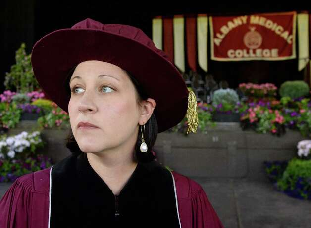 Kate Halligan of Albany before the start of Albany Medical College's Commencement Thursday May 21, 2015 in Saratoga Springs, NY.  (John Carl D'Annibale / Times Union) Photo: John Carl D'Annibale / 00031912A