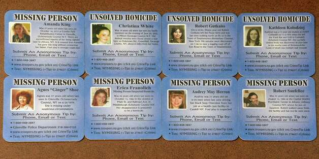 New Coasters for Hope to help find Capital Region missing persons and find answers to several unsolved homicides launched during a news conference Thursday May 21, 2015 in Clifton Park, NY.  (John Carl D'Annibale / Times Union) Photo: John Carl D'Annibale / 00031932A