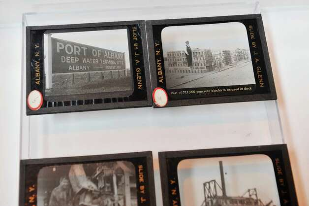 Glass negatives from the Albany County Hall of Records are on display at the Port of Albany during the Albany Port District Commission 2nd Annual Port Industry Day on Thursday, May 21, 2015, in Albany, N.Y.   (Paul Buckowski / Times Union) Photo: PAUL BUCKOWSKI / 00031941A