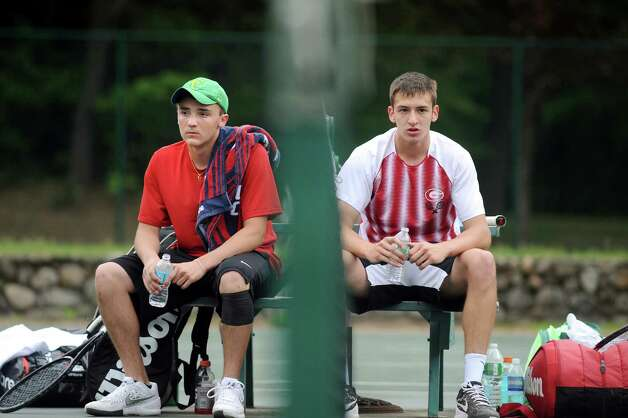 Albany Academy's Michael Haelen, left, and Gilderland's Alex Federov take a break during their Section II tennis final on Thursday, May 21, 2015, at Central Park tennis courts in Schenectady, N.Y. (Cindy Schultz / Times Union) Photo: Cindy Schultz / 00031944A