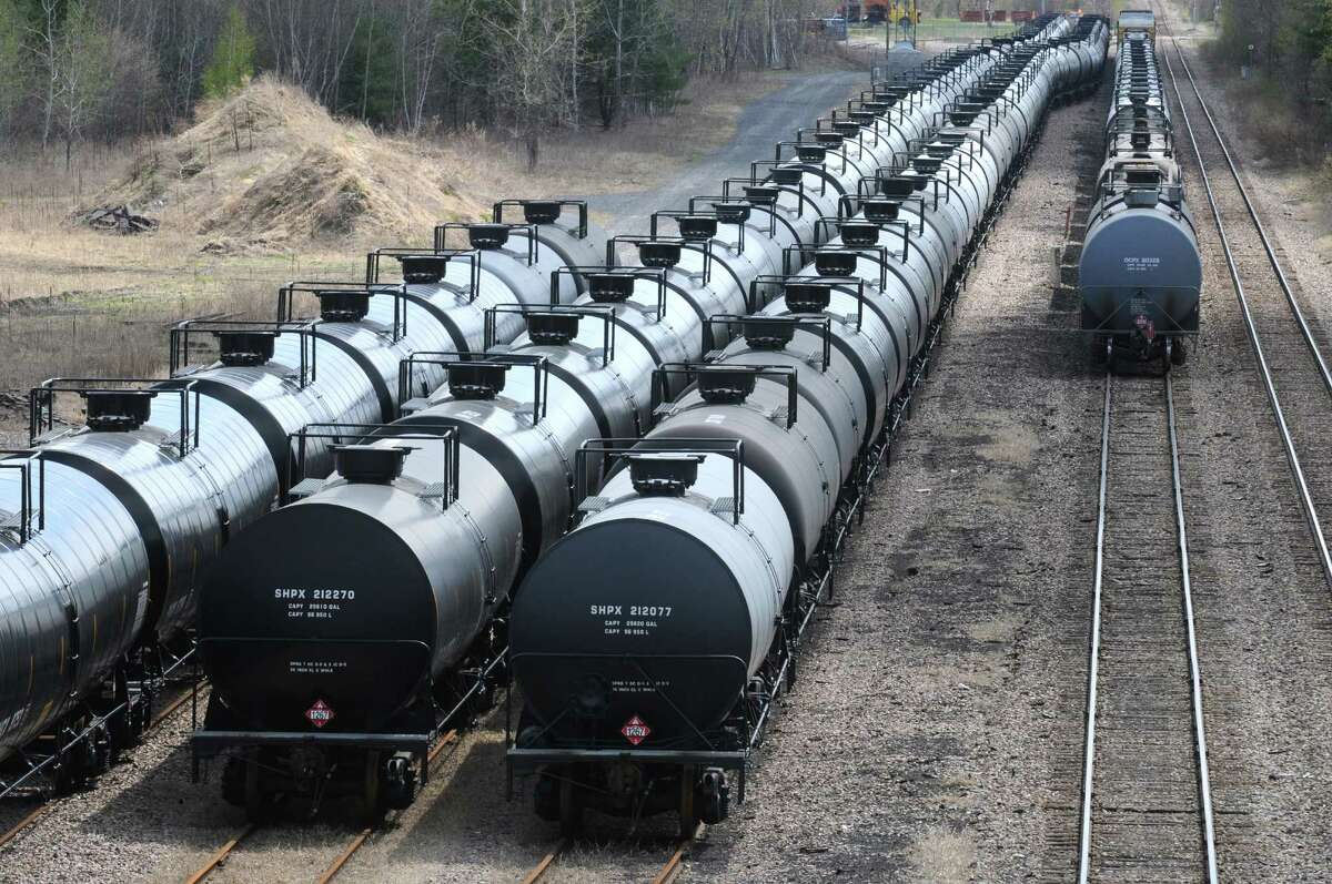 Oil train cars seen from the Route 155 bridge on Thursday April 30, 2015 in Watervliet, N.Y. (Michael P. Farrell/Times Union)