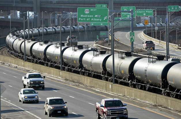A long line of oil tank cars sits along I-787 Tuesday, Jan. 20, 2015, in Albany, N.Y.  (John Carl D'Annibale / Times Union archive) Photo: John Carl D'Annibale / 00030273A