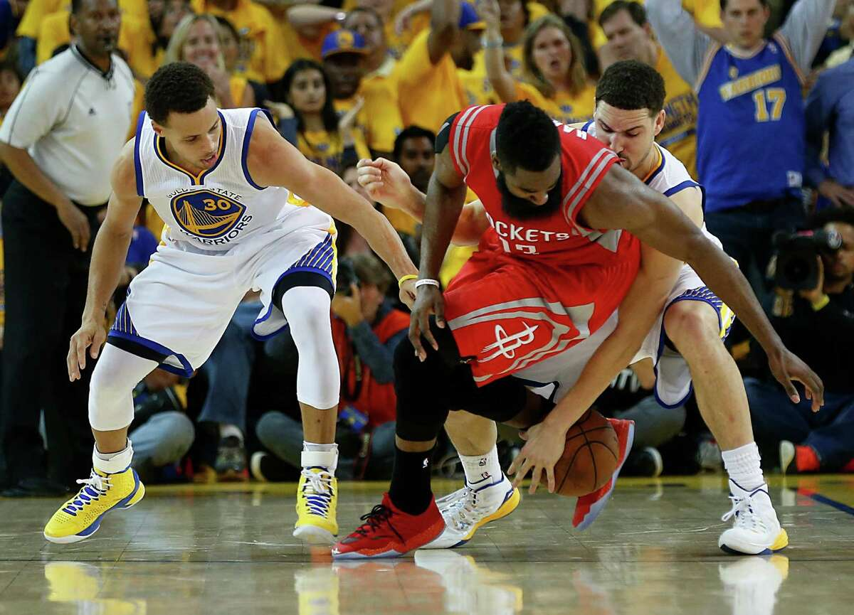 2015: Stephen Curry (MVP) vs. James Harden Their teams met in the Western Conference final, with Curry's Warriors winning in five games. Curry led all scorers with 31.2 points per game while Harden averaged 28.4. Harden endured some rough moments, including a turnover that sealed the Rockets' Game 2 loss. Then in the series finale, he had an NBA playoff-record 12 turnovers.