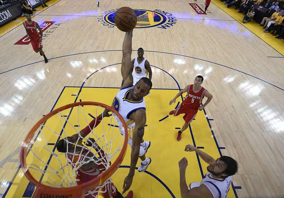 Golden State WarriorsÕ Andre Iguodala (9) dunks in the second period  during Game 2 of the Western Conference Finals on Thursday, May 21, 2015 in Oakland, Calif. Photo: John Mabanglo, European Photo Agency