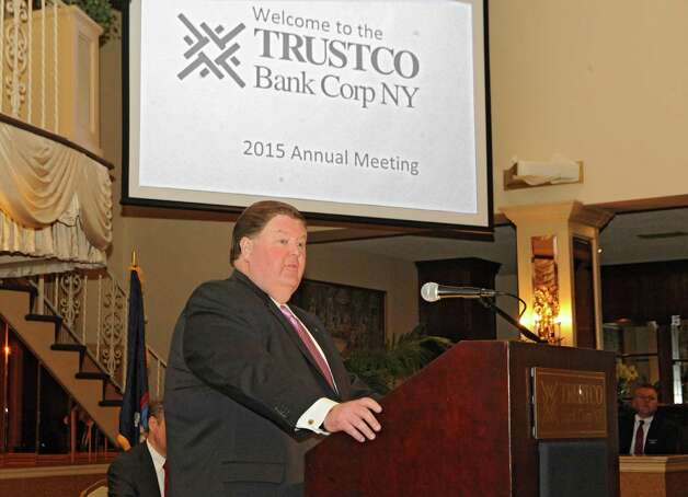 Rob McCormick speaks during the TrustCo Bank Corp NY annual shareholder's meeting at Mallozzi's Restaurant on Thursday, May 21, 2015 in Rotterdam, N.Y. (Lori Van Buren / Times Union) Photo: Lori Van Buren / 00031939A