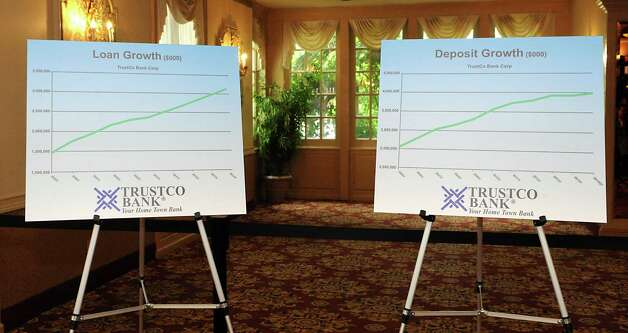 Signs showing loan and deposit growth at the TrustCo Bank Corp NY annual shareholder's meeting at Mallozzi's Restaurant on Thursday, May 21, 2015 in Rotterdam, N.Y. (Lori Van Buren / Times Union) Photo: Lori Van Buren / 00031939A
