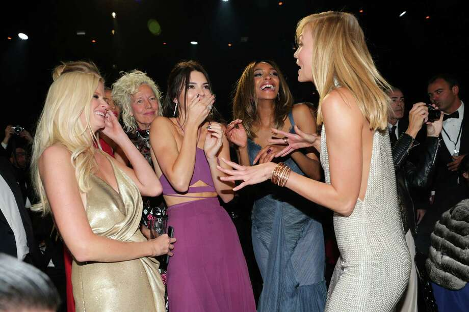 CAP D'ANTIBES, FRANCE - MAY 21:  Models Lara Stone, Kendall Jenner, Jourdan Dunn and Karlie Kloss during amfAR's 22nd Cinema Against AIDS Gala, Presented By Bold Films And Harry Winston at Hotel du Cap-Eden-Roc on May 21, 2015 in Cap d'Antibes, France.  (Photo by Gisela Schober/WireImage) Photo: Gisela Schober, Getty Images / 2015 Gisela Schober