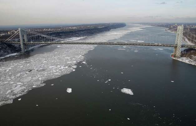 Ice on the Hudson River around Manhattan in New York, Tuesday, Feb. 24, 2015. (AP Photo/Seth Wenig) Photo: Seth Wenig, Associated Press / AP