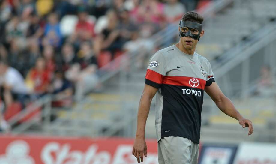 Scorpions player Adrian Cann wears a protective mask during a match during the spring 2015 NASL season. Photo: Courtesy Photo / S.A. Scorpions