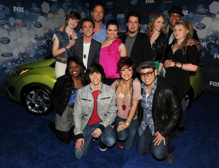"""LOS ANGELES, CA - MARCH 11:  **BOOK PUBLISHING OUT**  (L-R starting top row) Top 12 contestants Siobhan Magnus, Aaron Kelly, Casey James, Katie Stevens, Lee Dewyze, Didi Benami, Michael Lynche, Crystal Bowersox, Paige Miles, Tim Urban, Lacey Brown and Andrew Garcia arrive at Fox's Meet the Top 12 """"American Idol"""" finalists held at Industry on March 11, 2010 in Los Angeles, California.  (Photo by Kevin Winter/Getty Images) *** Local Caption *** Siobhan Magnus;Aaron Kelly;Casey James;Katie Stevens;Lee Dewyze;Didi Benami;Michael Lynche;Crystal Bowersox;Paige Miles;Tim Urban;Lacey Brown;Andrew Garcia Photo: Kevin Winter, Getty Images / 2010 Getty Images"""