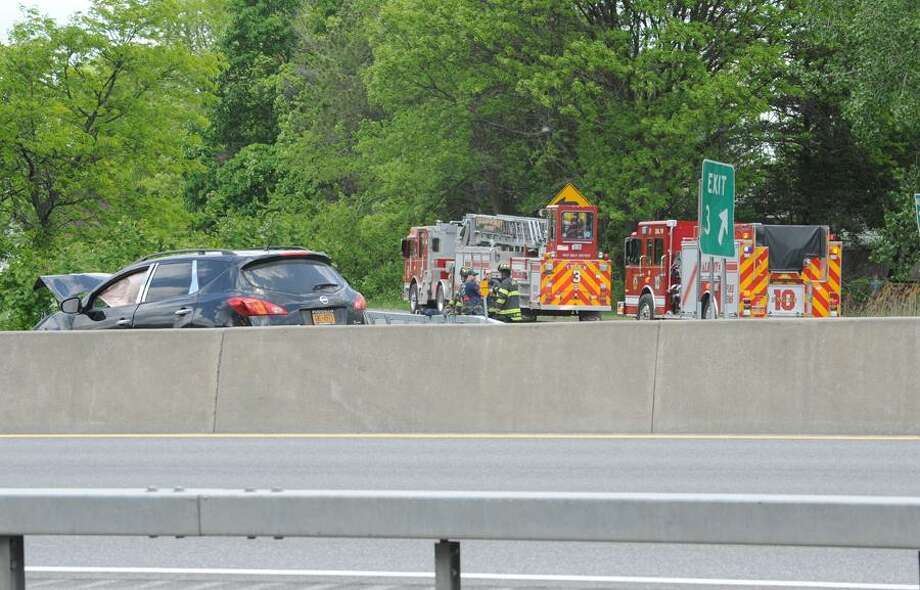 An accident westbound on Interstate 90 near Exit 3 is causing traffic delays in Albany. (Lori Van Buren / Times Union)