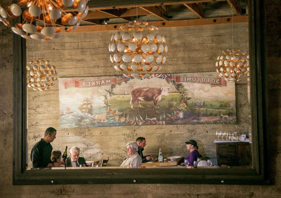 Diners at chef Dustin Valette's Valette in Healdsburg, whose great-grandfather owned the property in the 1930s and 1940s. Photo: John Storey / Special To The Chronicle / ONLINE_YES