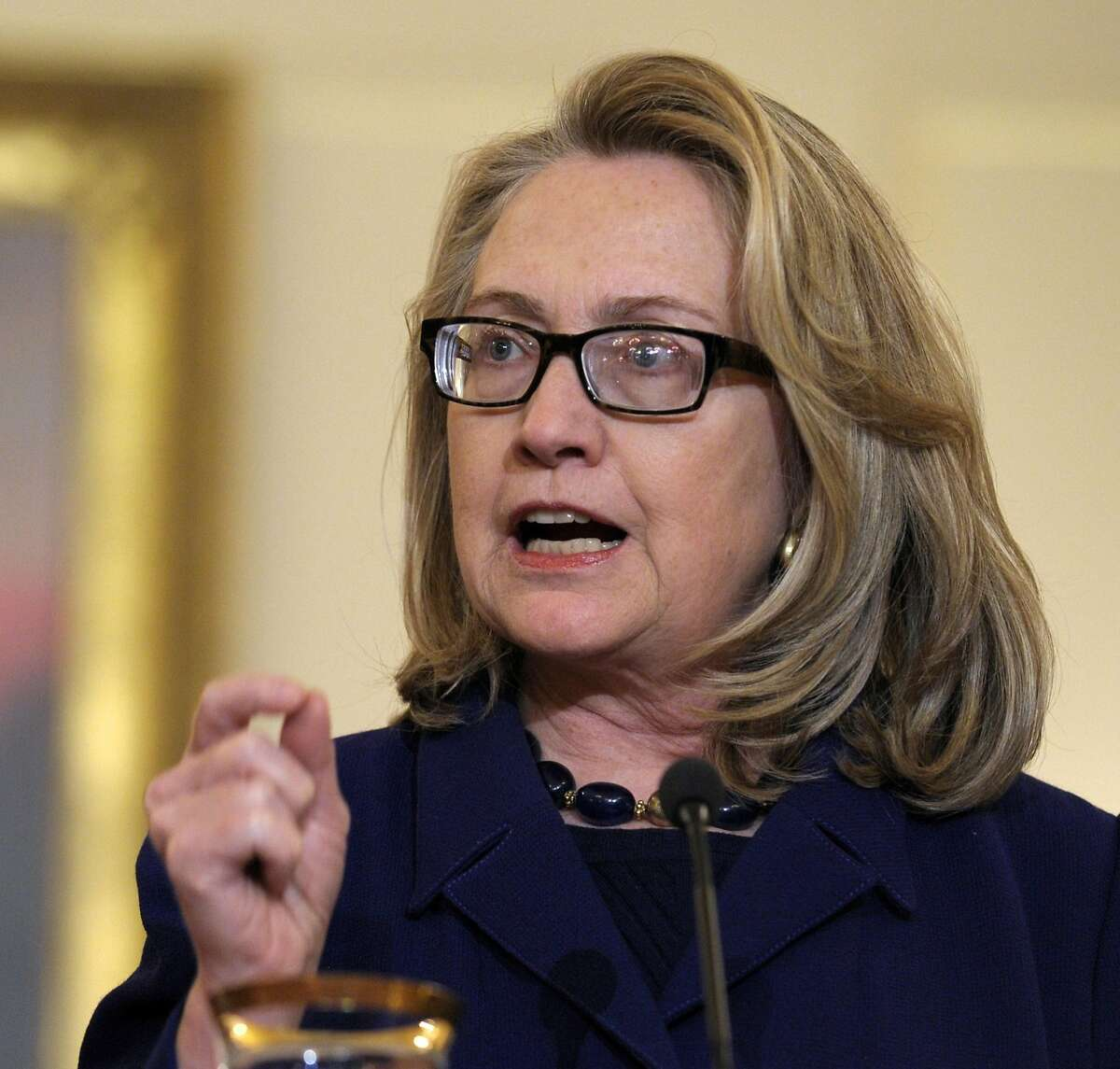 FILE - In this Jan. 18, 2013 file photo, then-Secretary of State Hillary Rodham Clinton speaks at the State Department in Washington. On Friday, the State Department posted 296 Benghazi-related emails from Hillary Clinton's private server. (AP Photo/Susan Walsh, File)