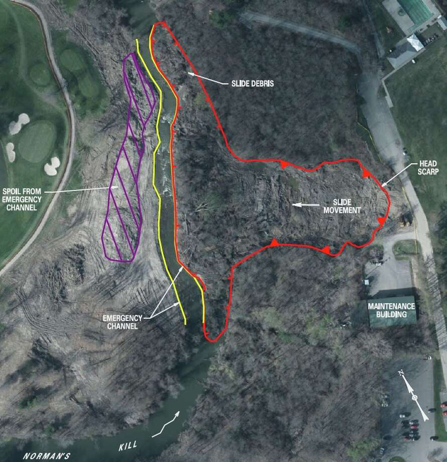 This state Department of Transportation site plan shows the location of the Normans Kill landslide and the emergency channel dug around it relative to the Normanskill Country Club in Bethlehem (right) and Albany's Capital Hills Golf Course (left). (NYS Department of Transportation)