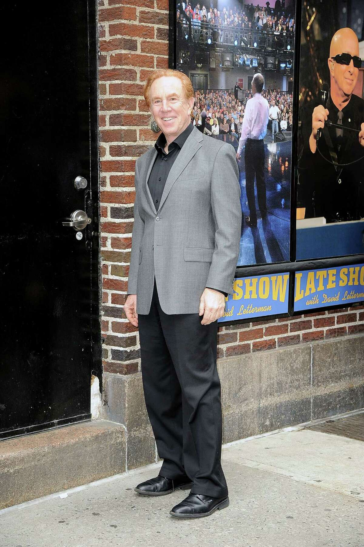 """NEW YORK, NY - MAY 18: Announcer Alan Kalter visits """"Late Show With David Letterman"""" at Ed Sullivan Theater on May 18, 2015 in New York City."""