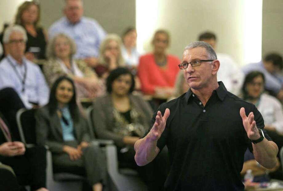 Celebrity chef Robert Irvine speaks in April at Sysco's headquarters on the west side. He talked to employees about food trends. Photo: Melissa Phillip, Staff / © 2015  Houston Chronicle