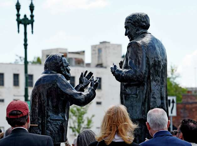 The bronzes of Thomas Edison and Charles Steinmetz were officially unveiled at the corner of Erie Blvd. and Ferry Street Friday, May 22, 2015, in Schenectady, N.Y. (Skip Dickstein/Times Union) Photo: SKIP DICKSTEIN / 00031861A
