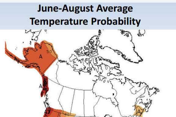 The blue area indicates lower-than-average temperatures.