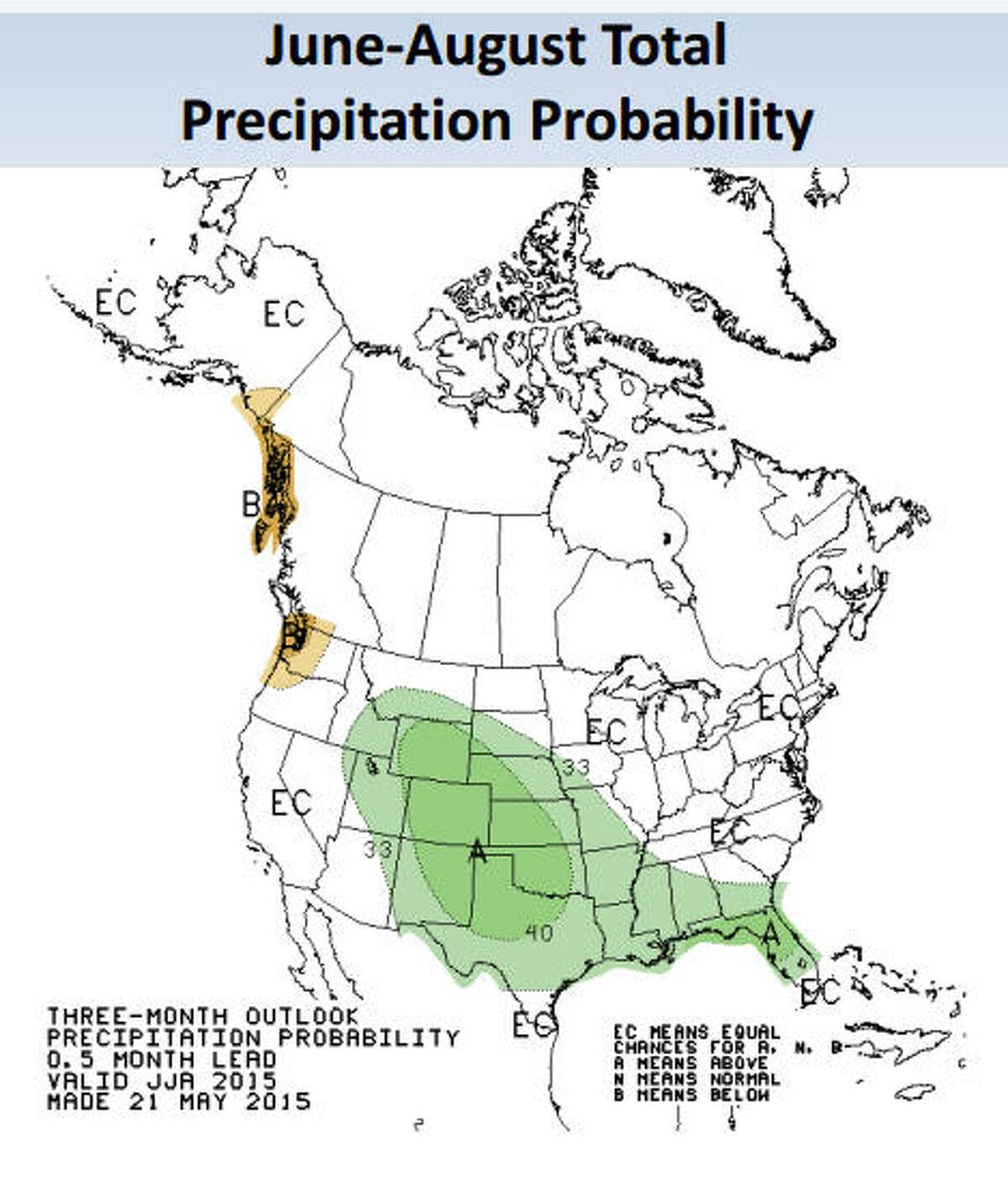 The green area indicates higher-than-average rainfall. Image credit: NOAA