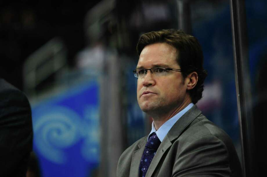 New Rampage coach Dean Chynoweth on the bench with the AHL's Lake Erie Monsters in 2015. Photo: Courtesy Photo /S.A. Rampage