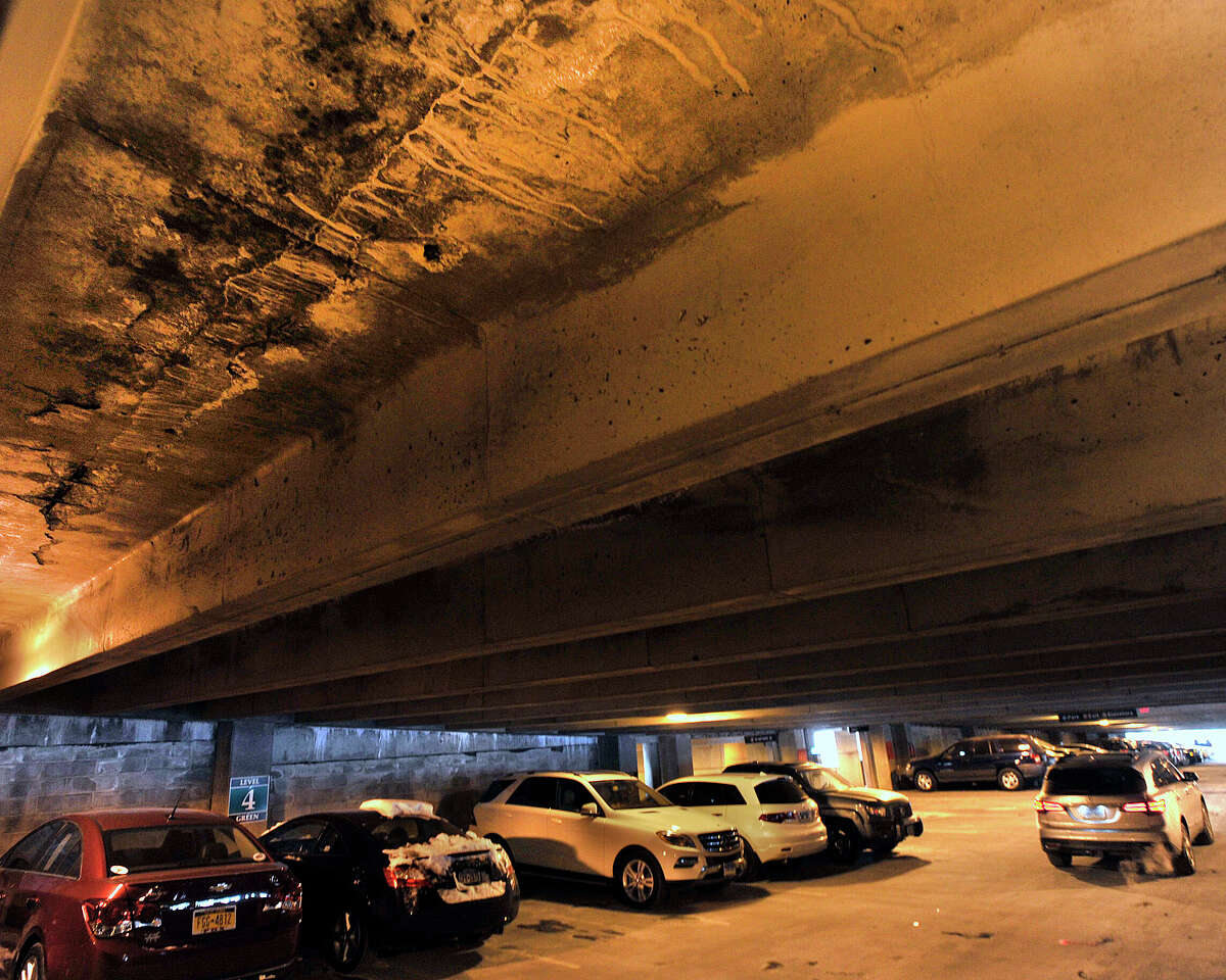Damage can be seen on the fourth floor of the train station parking garage in Stamford, Conn., on Tuesday, March 3, 2015.