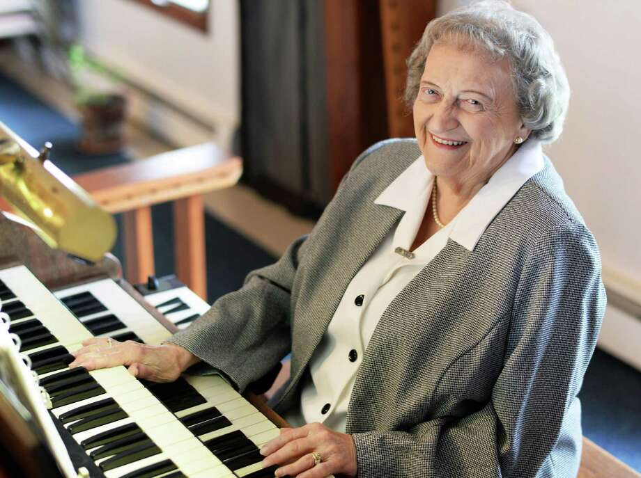 Hope United Methodist Church organist for 75 years, Marge Roden poses at her organ Wednesday May 20, 2015 in Brunswick, NY.  (John Carl D'Annibale / Times Union) Photo: John Carl D'Annibale / 00031922A