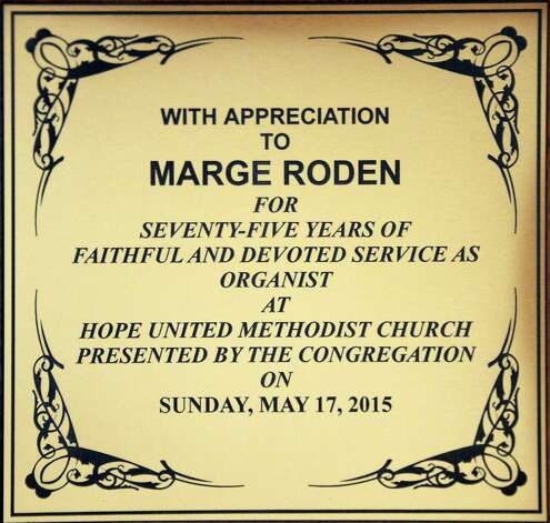 A plaque on the side of the Hope United Methodist Church organ honors Marge Roden, organist at the church for 75 years, Wednesday May 20, 2015 in Brunswick, NY.  (John Carl D'Annibale / Times Union) Photo: John Carl D'Annibale / 00031922A