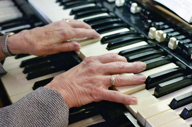 Hope United Methodist Church organist for 75 years, Marge Roden plays her organ at the church Wednesday May 20, 2015 in Brunswick, NY.  (John Carl D'Annibale / Times Union) Photo: John Carl D'Annibale / 00031922A