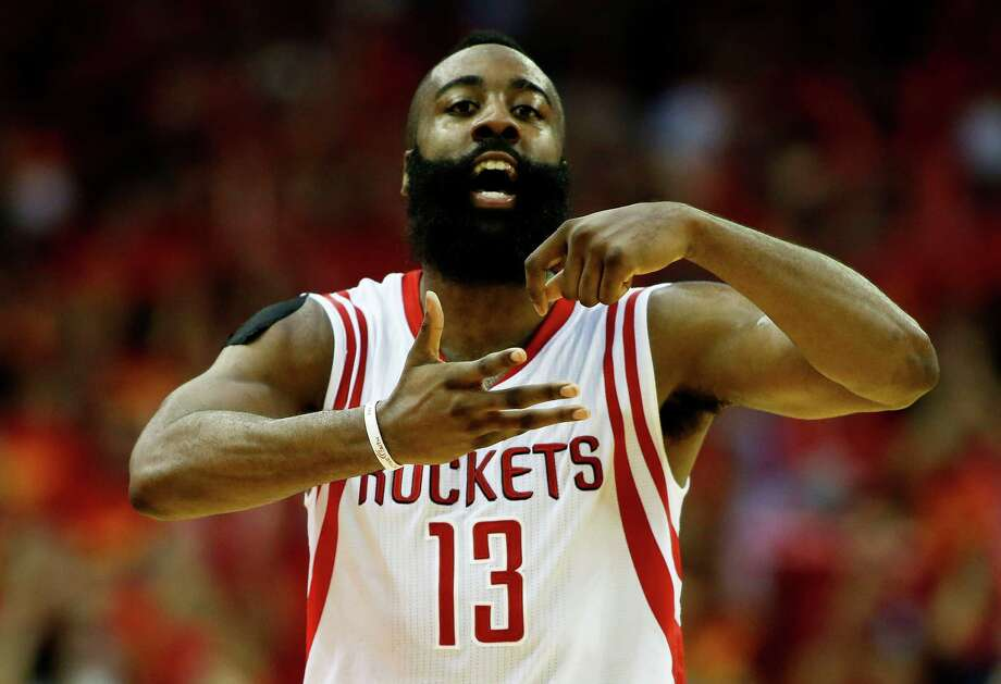 James Harden of the Houston Rockets celebrates in the fourth quarter against the Los Angeles Clippers during Game 7 of the Western Conference semifinals at the Toyota Centeron May 17, 2015 in Houston. Photo: Scott Halleran /Getty Images / 2015 Getty Images