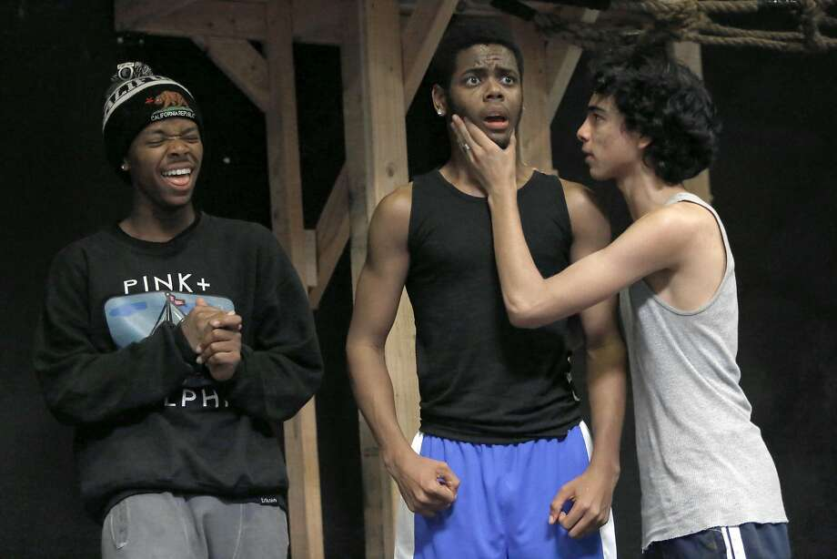 """Performers  Masud Waqia (left), 17, Maurice Jones, Jr. (middle), 18, and Daniel """"DJ"""" Acosta (right) from the Gritty City Repertory Youth Theatre rehearse """"Much Ado about Nothing"""" in Oakland, California, on Thursday, May 21, 2015. Photo: Liz Hafalia, The Chronicle"""