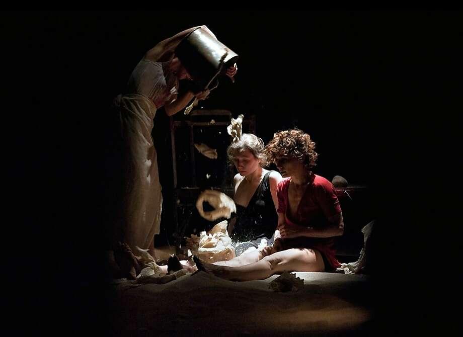 "Aleksandra Kotecka (left), Ditte Berkeley and Simona Sala of Teatr Zar in ""Armine, Sister."" Photo: Karol Jarek"