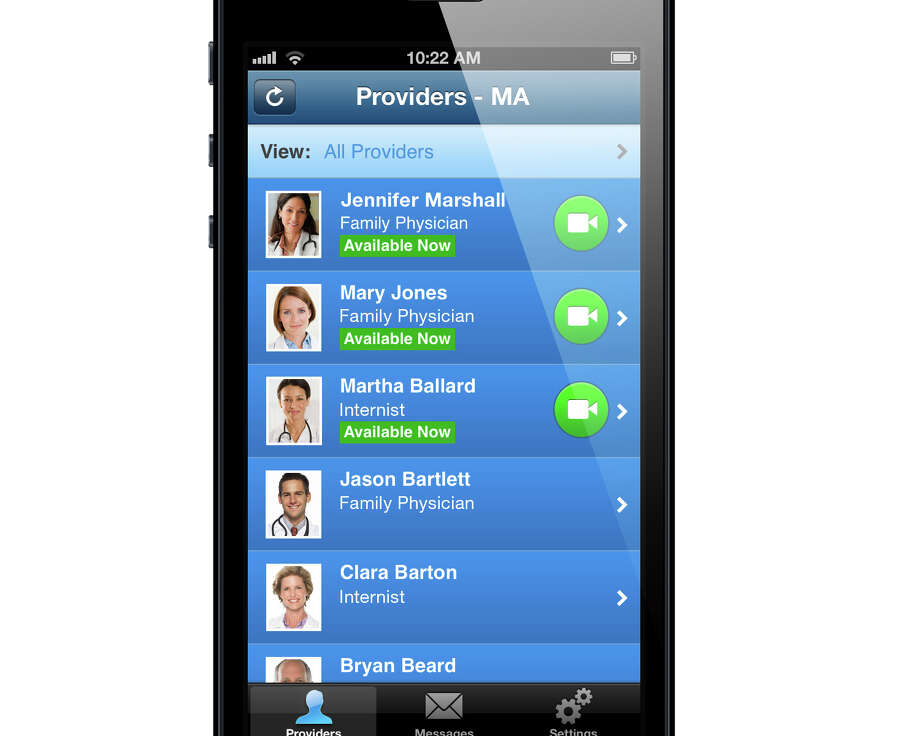 "A mock-up of a list of physicians who provide video medical ""visits"" with patients via the app LiveHealth Online. The program, offered by Anthem Blue Cross and Blue Shield, allows customers to see a doctor through online video conferencing for relatively minor complaints, such as allergies, colds and rashes. Photo: Contributed Photo / Connecticut Post Contributed"
