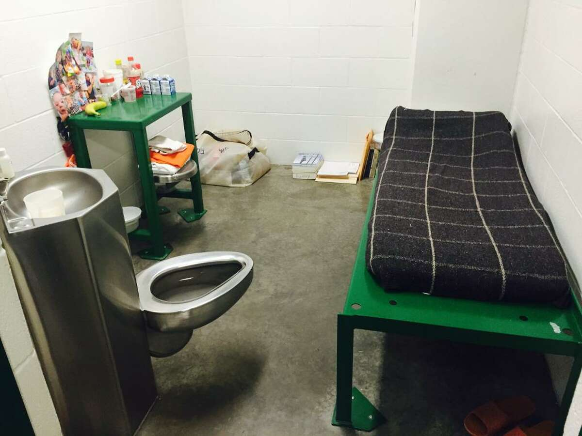 An individual cell in Harris County Jail's pregnancy and post-partum unit.