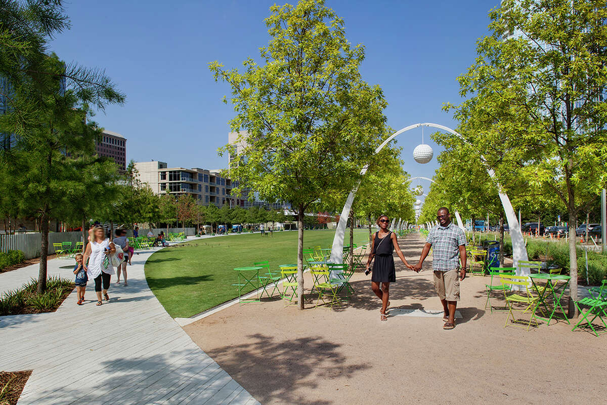 Klyde Warren Park in Dallas offers walking trails and green space in the heart of the city.
