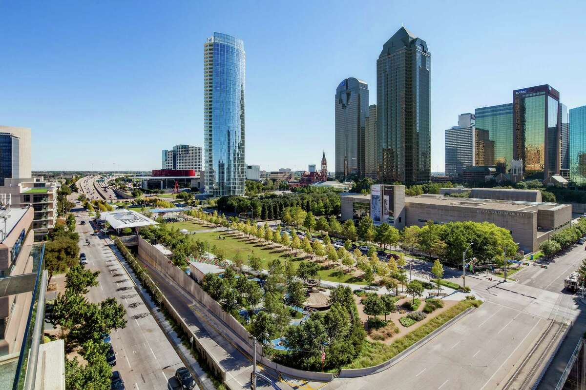 Klyde Warren Park stretches over the recessed Woodall Rodgers freeway just north of downtown Dallas.
