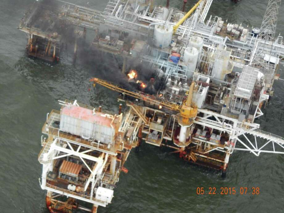 This photo provided by the U.S. Coast Guard shows a fire Friday on a Gulf of Mexico oil platform. No injuries were reported. The operator of the platform estimated no more than 120 barrels of crude oil were stored on it.  Photo: HOGP / US Coast Guard
