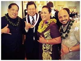 From left: bassist Kawika Loo, emcee Rick Quan, vocalist Faith Ako and falsetto singer/slack key guitarist Steven Espaniola pose at a previous Five-Star Aloha Gala in San Francisco. Ako and Espaniola, who will receive the gala's top honor at the 2015 edition at the Westin St. Francis on May 26, are performing a benefit concert for Loo, who recently suffered a stroke, on May 24.