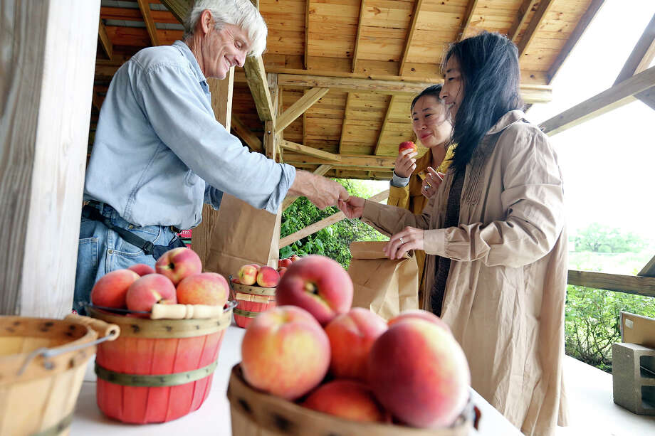 Studebaker Farm owner Russ Studebaker (from left) sells peaches to Melody Gebhardt and her mother Xiaogeng Cao on Thursday, May 21, 2015 at Studebaker Farm near Fredericksburg, Texas. Photo: Edward A. Ornelas /San Antonio Express-News / © 2015 San Antonio Express-News