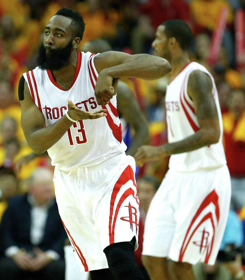 "James Harden won't reveal the meaning behind his ""stirring the pot"" gesture, but it's nationally known. Photo: James Nielsen, Staff / © 2015  Houston Chronicle"