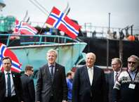 King Harald V of Norway tours the Pacific Fisherman Shipyard in Ballard on Friday, May 22, 2015. This is his first appearance during a weekend visit to Seattle where the King will give the commencement speech at Pacific Lutheran University and spend time in the Ballard neighborhood - known for its large Norwegian population.
