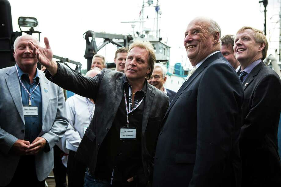 "Sig Hansen from ""Deadliest Catch"" talks with King Harald V of Norway at the Pacific Fisherman Shipyard in Ballard on Friday, May 22, 2015. Photo: DANIELLA BECCARIA, SEATTLEPI.COM / SEATTLEPI.COM"
