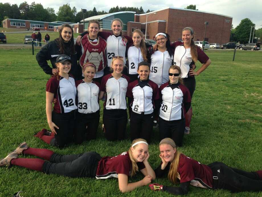 The Greenville softball team poses for a photo after eliminating four-time defending champion Greenwich in a Class C quarterfinal game at Greenwich on Friday. (Courtesy Greenville softball)
