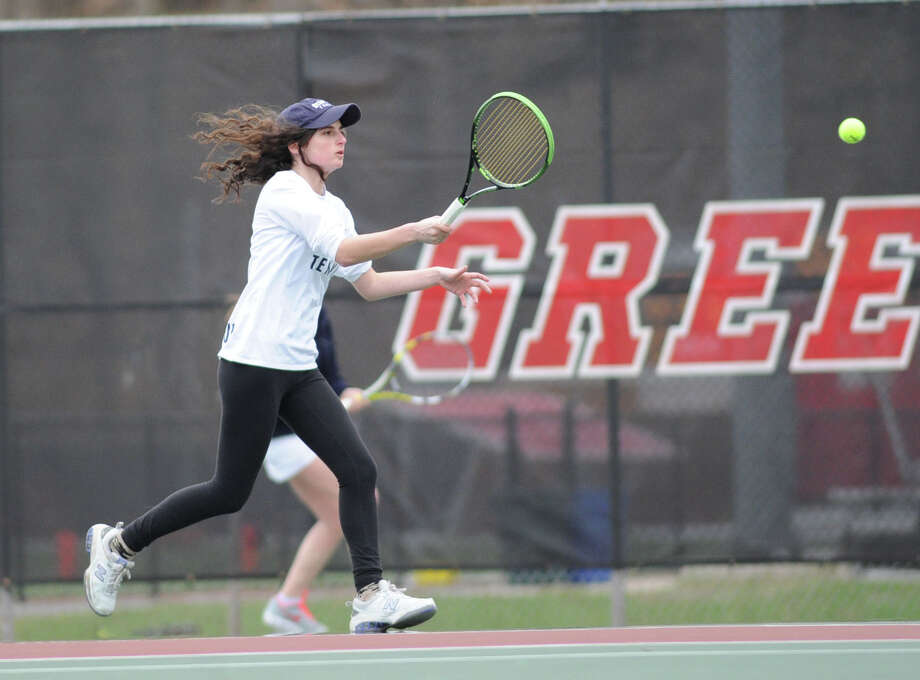 Gabi Titlebaum of Staples hits during her match against Anna Daccache in the girls high school tennis match between Greenwich High School and Staples High School at Greenwich, Conn., Thursday, April 9, 2015. Photo: Bob Luckey / Greenwich Time