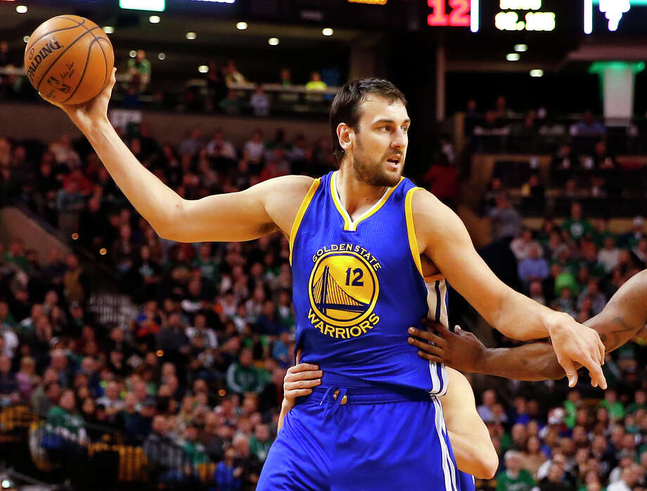 Golden State Warriors' Andrew Bogut during the first quarter of an NBA basketball game against the Boston Celtics in Boston Sunday, March 1, 2015. (AP Photo/Winslow Townson) Photo: Winslow Townson, FRE / FR170221 AP