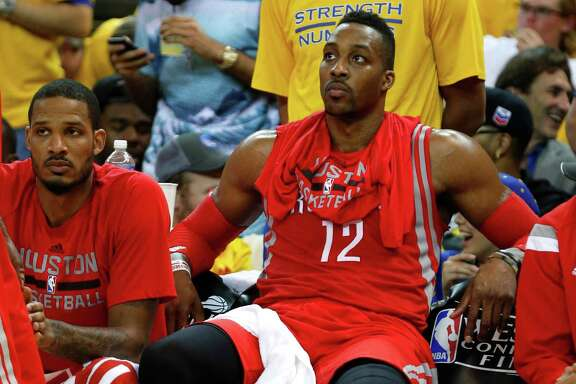 Despite nursing a sprained left knee, Rockets center Dwight Howard spent little on the bench in Game 2, getting 19 points and 17 rebounds in 40 minutes.