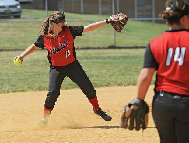 Guilderland shortstop Nicole Fyvie throws the ball to first during a Class AA quarterfinal softball game against Colonie on Friday, May 22, 2015 in Colonie, N.Y. (Lori Van Buren / Times Union) Photo: Lori Van Buren / 00031969A