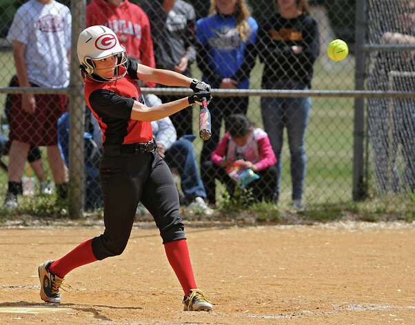 Guilderland's Alexa Watts gets a double with this hit during a Class AA quarterfinal softball game against Colonie on Friday, May 22, 2015 in Colonie, N.Y. (Lori Van Buren / Times Union) Photo: Lori Van Buren / 00031969A